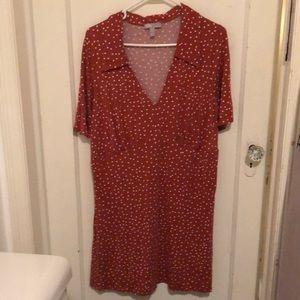Orange polka dot A-line dress